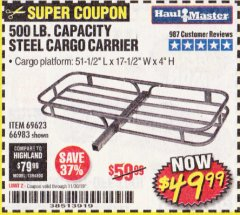 Harbor Freight Coupon 500 LB. CAPACITY DELUXE STEEL CARGO CARRIER Lot No. 69623/66983 Expired: 11/30/19 - $49.99