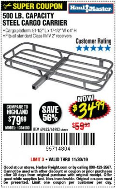 Harbor Freight Coupon 500 LB. CAPACITY DELUXE STEEL CARGO CARRIER Lot No. 69623/66983 Expired: 11/30/19 - $34.99