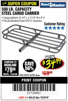 Harbor Freight Coupon 500 LB. CAPACITY DELUXE STEEL CARGO CARRIER Lot No. 69623/66983 Expired: 12/8/19 - $34.99