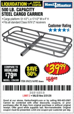 Harbor Freight Coupon 500 LB. CAPACITY DELUXE STEEL CARGO CARRIER Lot No. 69623/66983 Expired: 3/31/20 - $39.99