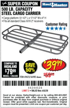 Harbor Freight Coupon 500 LB. CAPACITY DELUXE STEEL CARGO CARRIER Lot No. 69623/66983 Expired: 6/30/20 - $39.99