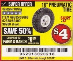"Harbor Freight Coupon 10"" PNEUMATIC TIRE WITH WHITE HUB Lot No. 62698 69385 62388 62409 30900 Expired: 8/31/19 - $4"