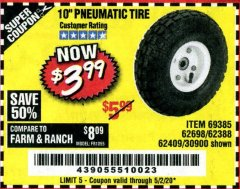"Harbor Freight Coupon 10"" PNEUMATIC TIRE WITH WHITE HUB Lot No. 62698 69385 62388 62409 30900 Expired: 6/30/20 - $3.99"