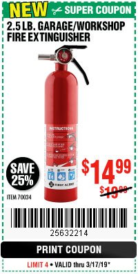 Harbor Freight Coupon 2.5 LB. GARAGE/WORKSHOP FIRE EXTINGUISHER Lot No. 70034 Expired: 3/17/19 - $14.99