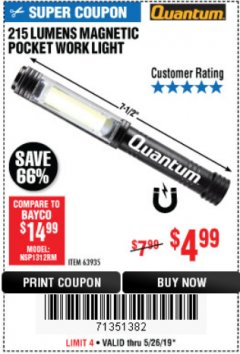 Harbor Freight Coupon 215 LUMENS POCKET WORK LIGHT Lot No. 63935 Expired: 5/26/19 - $4.99