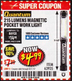 Harbor Freight Coupon 215 LUMENS POCKET WORK LIGHT Lot No. 63935 Expired: 8/31/19 - $4.99