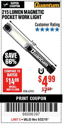 Harbor Freight Coupon 215 LUMENS POCKET WORK LIGHT Lot No. 63935 Expired: 9/22/19 - $4.99