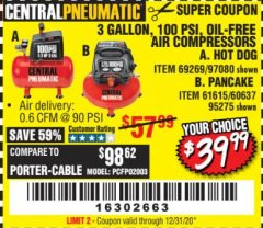 Harbor Freight Coupon 3 GALLON, 100 PSI HOT DOG OIL-FREE AIR COMPRESSOR Lot No. 69269/97080 Expired: 7/31/20 - $39.99