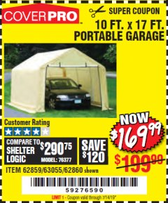 Harbor Freight Coupon 10 FT. X 17FT. PORTABLE GARAGE Lot No. 62859/63055/62860 Expired: 7/14/19 - $169.99