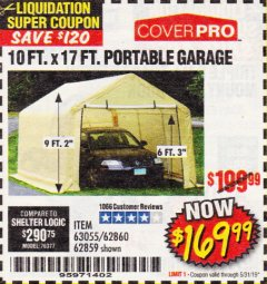 Harbor Freight Coupon 10 FT. X 17FT. PORTABLE GARAGE Lot No. 62859/63055/62860 Expired: 5/31/19 - $169.99