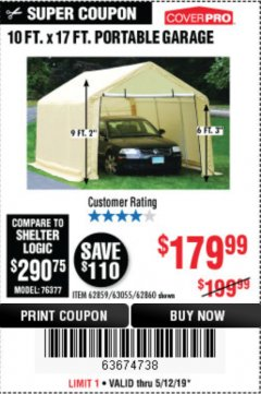 Harbor Freight Coupon 10 FT. X 17FT. PORTABLE GARAGE Lot No. 62859/63055/62860 Expired: 5/12/19 - $179.99