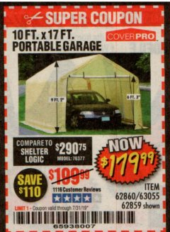 Harbor Freight Coupon 10 FT. X 17FT. PORTABLE GARAGE Lot No. 62859/63055/62860 Expired: 7/31/19 - $179.99