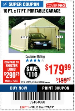 Harbor Freight Coupon 10 FT. X 17FT. PORTABLE GARAGE Lot No. 62859/63055/62860 Expired: 7/21/19 - $179.99