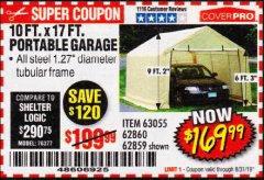 Harbor Freight Coupon 10 FT. X 17FT. PORTABLE GARAGE Lot No. 62859/63055/62860 Expired: 8/31/19 - $169.99