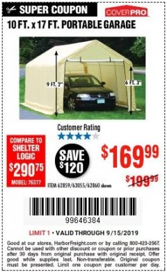 Harbor Freight Coupon 10 FT. X 17FT. PORTABLE GARAGE Lot No. 62859/63055/62860 Expired: 9/15/19 - $169.99