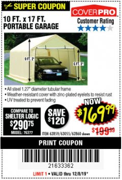 Harbor Freight Coupon 10 FT. X 17FT. PORTABLE GARAGE Lot No. 62859/63055/62860 Expired: 12/8/19 - $169.99