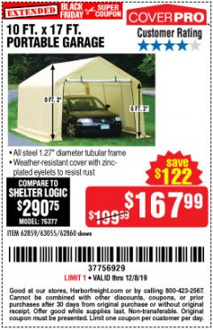 Harbor Freight Coupon 10 FT. X 17FT. PORTABLE GARAGE Lot No. 62859/63055/62860 Expired: 12/8/19 - $167.99