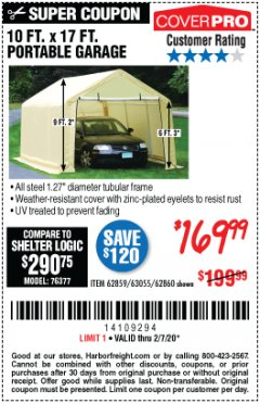 Harbor Freight Coupon 10 FT. X 17FT. PORTABLE GARAGE Lot No. 62859/63055/62860 Expired: 2/7/20 - $169.99