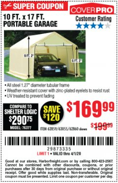 Harbor Freight Coupon 10 FT. X 17FT. PORTABLE GARAGE Lot No. 62859/63055/62860 Valid Thru: 4/1/20 - $169.99