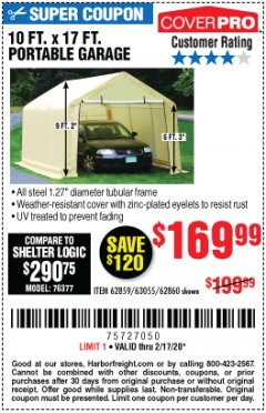 Harbor Freight Coupon 10 FT. X 17FT. PORTABLE GARAGE Lot No. 62859/63055/62860 Expired: 2/17/20 - $169.99
