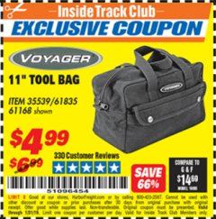 "Harbor Freight ITC Coupon 11"" TOOL BAG Lot No. 61168/35539/61835 Expired: 1/31/19 - $4.99"