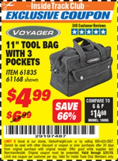 "Harbor Freight ITC Coupon 11"" TOOL BAG Lot No. 61168/35539/61835 Expired: 3/31/19 - $4.99"