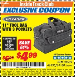"Harbor Freight ITC Coupon 11"" TOOL BAG Lot No. 61168/35539/61835 Expired: 5/31/19 - $4.99"
