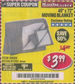 "Harbor Freight Coupon 40"" X 72"" MOVING BLANKET Lot No. 69504/62336/47262 Expired: 8/24/19 - $3.99"
