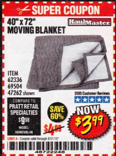 "Harbor Freight Coupon 40"" X 72"" MOVING BLANKET Lot No. 69504/62336/47262 Expired: 8/31/19 - $3.99"