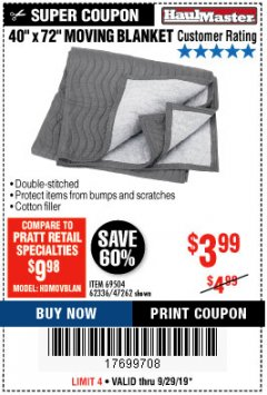 "Harbor Freight Coupon 40"" X 72"" MOVING BLANKET Lot No. 69504/62336/47262 Expired: 9/29/19 - $3.99"