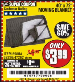 "Harbor Freight Coupon 40"" X 72"" MOVING BLANKET Lot No. 69504/62336/47262 Expired: 12/14/19 - $3.99"