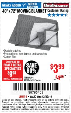 "Harbor Freight Coupon 40"" X 72"" MOVING BLANKET Lot No. 69504/62336/47262 Expired: 12/22/19 - $3.99"