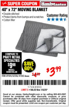 "Harbor Freight Coupon 40"" X 72"" MOVING BLANKET Lot No. 69504/62336/47262 Expired: 1/6/20 - $3.99"