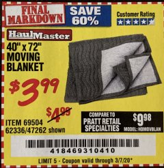 "Harbor Freight Coupon 40"" X 72"" MOVING BLANKET Lot No. 69504/62336/47262 Valid Thru: 3/7/20 - $3.99"