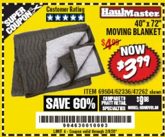 "Harbor Freight Coupon 40"" X 72"" MOVING BLANKET Lot No. 69504/62336/47262 Expired: 2/8/20 - $3.99"