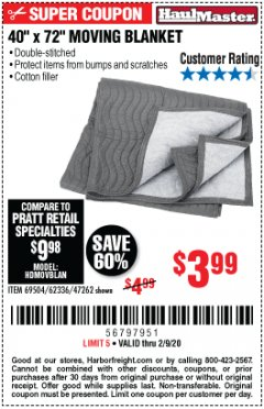"Harbor Freight Coupon 40"" X 72"" MOVING BLANKET Lot No. 69504/62336/47262 Expired: 2/9/20 - $3.99"