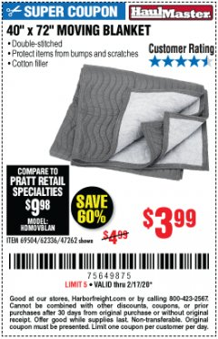 "Harbor Freight Coupon 40"" X 72"" MOVING BLANKET Lot No. 69504/62336/47262 Valid Thru: 2/17/20 - $3.99"