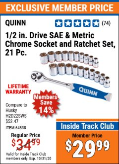 "Harbor Freight ITC Coupon 21 PIECE, 1/2"" DRIVE SAE AND METRIC HIGH VISIBILITY CHROME SOCKET AND RATCHET SET Lot No. 64538 Valid Thru: 10/31/20 - $29.99"
