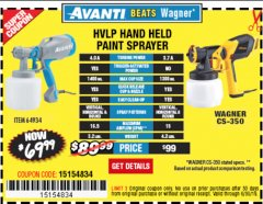 Harbor Freight Coupon AVANTI HVLP HAND HELD PAINT SPRAYER Lot No. 64934 Expired: 6/30/19 - $69.99
