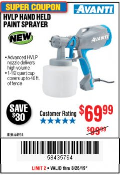 Harbor Freight Coupon AVANTI HVLP HAND HELD PAINT SPRAYER Lot No. 64934 Expired: 8/26/19 - $69.99