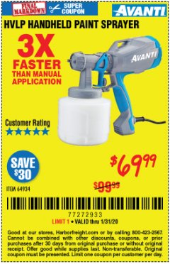 Harbor Freight Coupon AVANTI HVLP HAND HELD PAINT SPRAYER Lot No. 64934 Expired: 1/31/20 - $69.99
