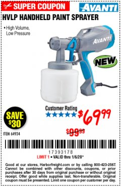 Harbor Freight Coupon AVANTI HVLP HAND HELD PAINT SPRAYER Lot No. 64934 Expired: 1/6/20 - $69.99