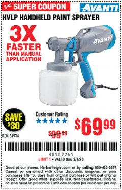Harbor Freight Coupon AVANTI HVLP HAND HELD PAINT SPRAYER Lot No. 64934 Expired: 3/1/20 - $69.99