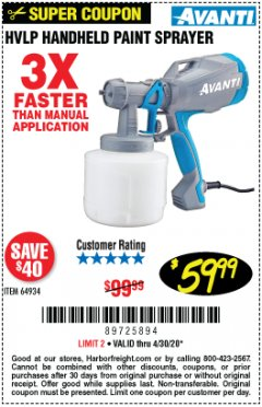 Harbor Freight Coupon AVANTI HVLP HAND HELD PAINT SPRAYER Lot No. 64934 Expired: 6/30/20 - $59.99