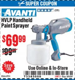 Harbor Freight Coupon AVANTI HVLP HAND HELD PAINT SPRAYER Lot No. 64934 Expired: 9/6/20 - $69.99