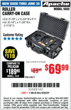 Harbor Freight Coupon APACHE 5800 ROLLER CARRY ON CASE Lot No. 64819 EXPIRES: 6/30/20 - $69.99