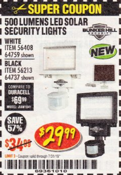 Harbor Freight Coupon 500 LUMENS LED SOLAR SECURITY LIGHT Lot No. 56408/64759/56213/64737 Expired: 7/31/19 - $29.99
