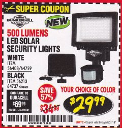 Harbor Freight Coupon 500 LUMENS LED SOLAR SECURITY LIGHT Lot No. 56408/64759/56213/64737 Expired: 8/31/19 - $29.99