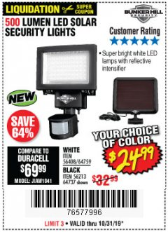 Harbor Freight Coupon 500 LUMENS LED SOLAR SECURITY LIGHT Lot No. 56408/64759/56213/64737 Expired: 10/31/19 - $24.99