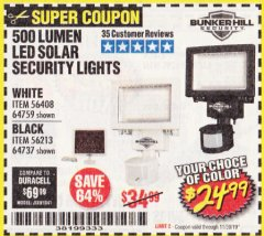 Harbor Freight Coupon 500 LUMENS LED SOLAR SECURITY LIGHT Lot No. 56408/64759/56213/64737 Expired: 11/30/19 - $24.99